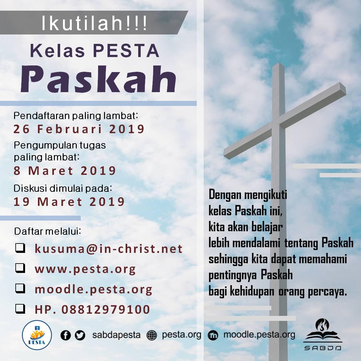 Kelas PESTA Paskah Maret-April 2019