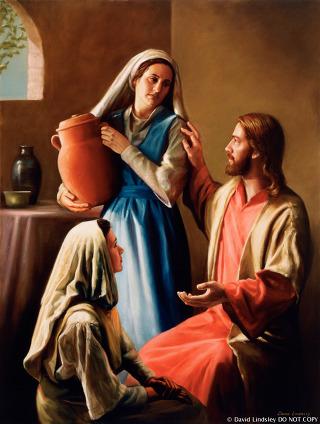 Yesus mengajar Maria dan Martha