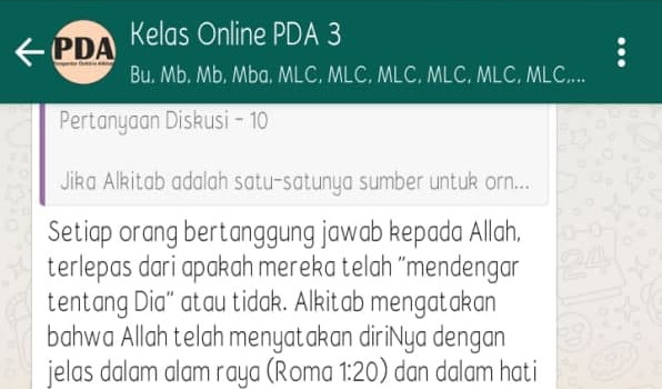 Kelas Pengantar Doktrin Alkitab (PDA)