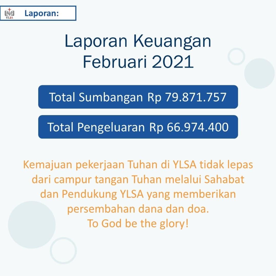 Laporan keuangan YLSA Maret 2021.