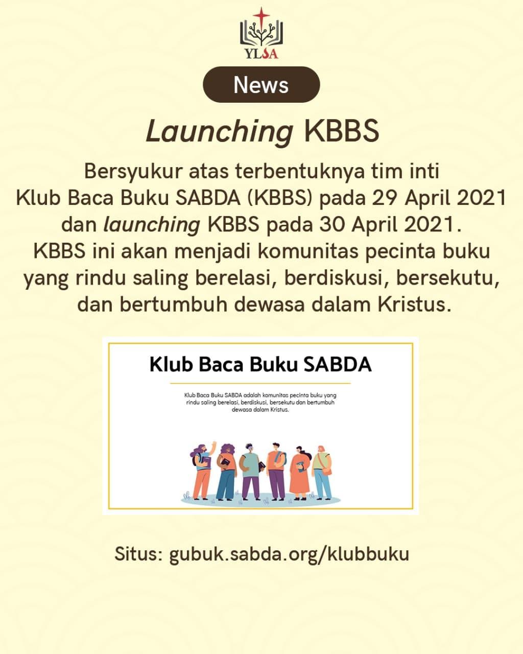 Bersyukur atas terbentuknya Klub Baca Buku SABDA (KBBS), komunitas pecinta buku yang rindu saling berelasi, berdiskusi, bersekutu dan bertumbuh dewasa dalam Kristus.