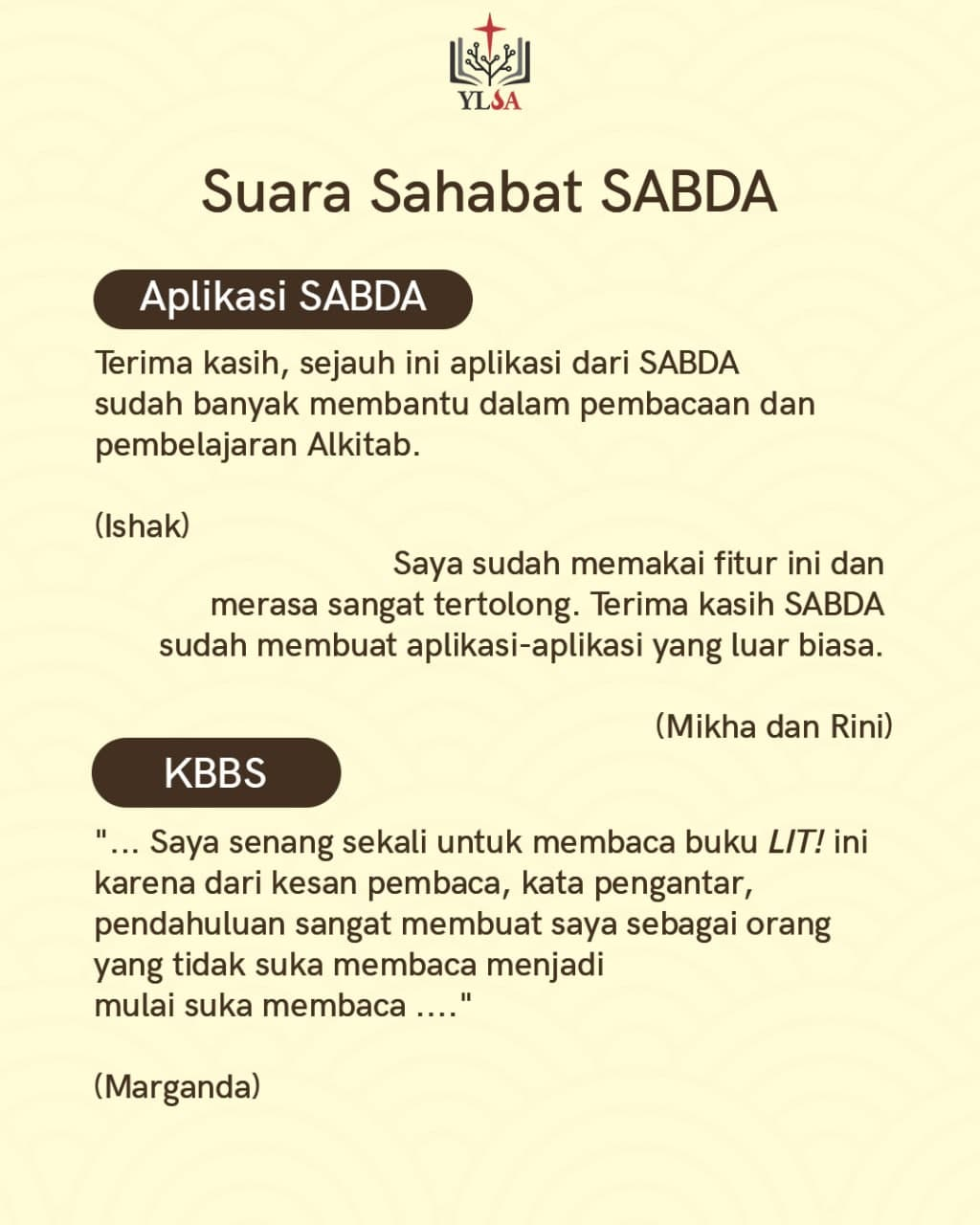 Testimoni dari Sahabat SABDA mengenai Aplikasi SABDA dan Klub Baca Buku SABDA (KBBS)