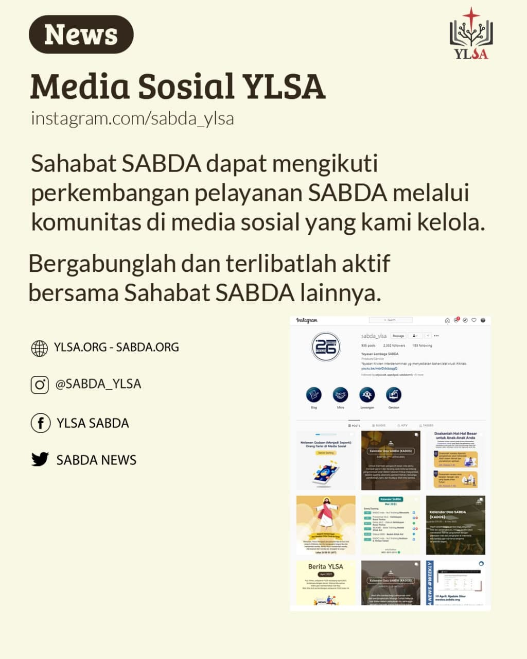 Sahabat SABDA dapat mengikuti perkembangan pelayanan SABDA melalui komunitas di media sosial.