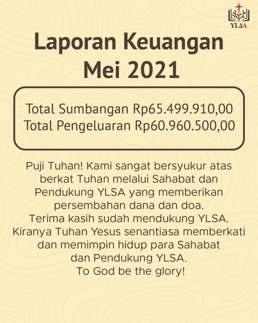 Laporan keuangan YLSA Mei 2021.