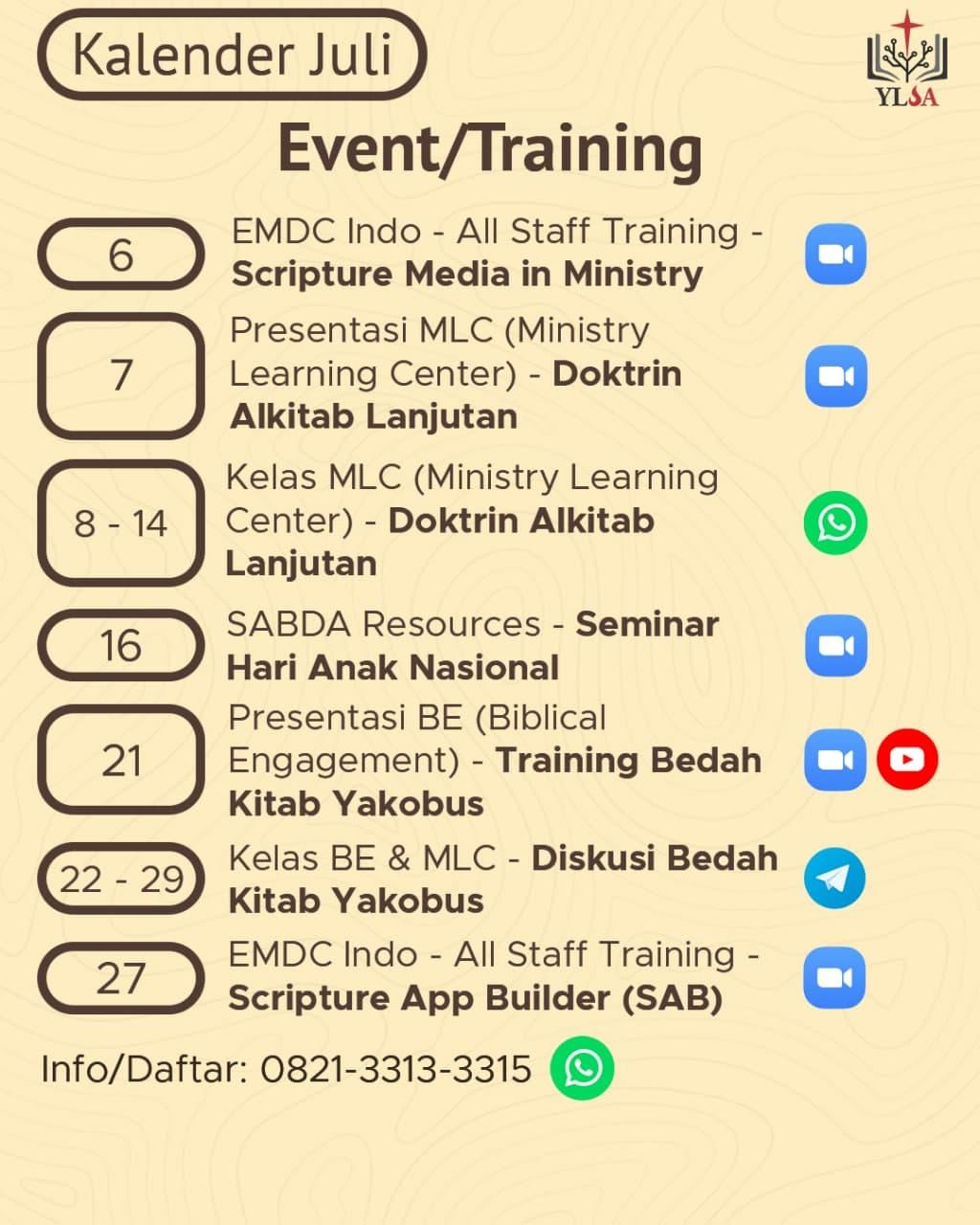 Kalender event/training YLSA selama Juli 2021.