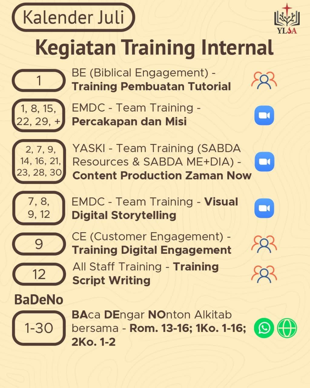 Kalender kegiatan/training internal YLSA selama Juli 2021.