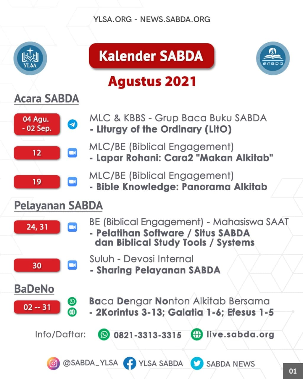 Kalender acara SABDA selama Agustus 2021.