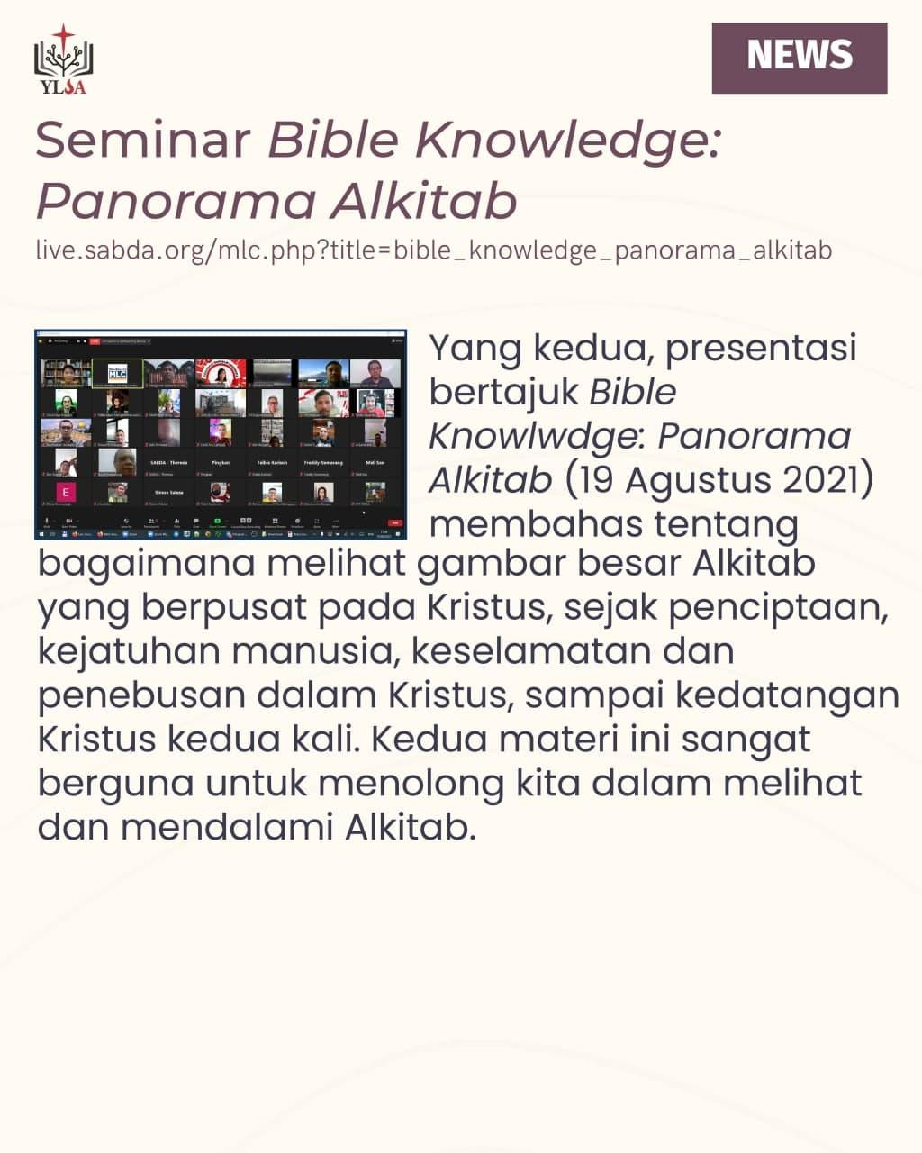 Presentasi ini membahas tentang bagaimana melihat gambar besar Alkitab yang berpusat pada Kristus.