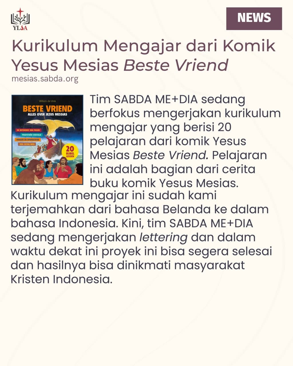 Divisi SABDA ME+DIA melalui Komunitas SABDA Komik menyajikan konten-konten grafis bertema kurban.