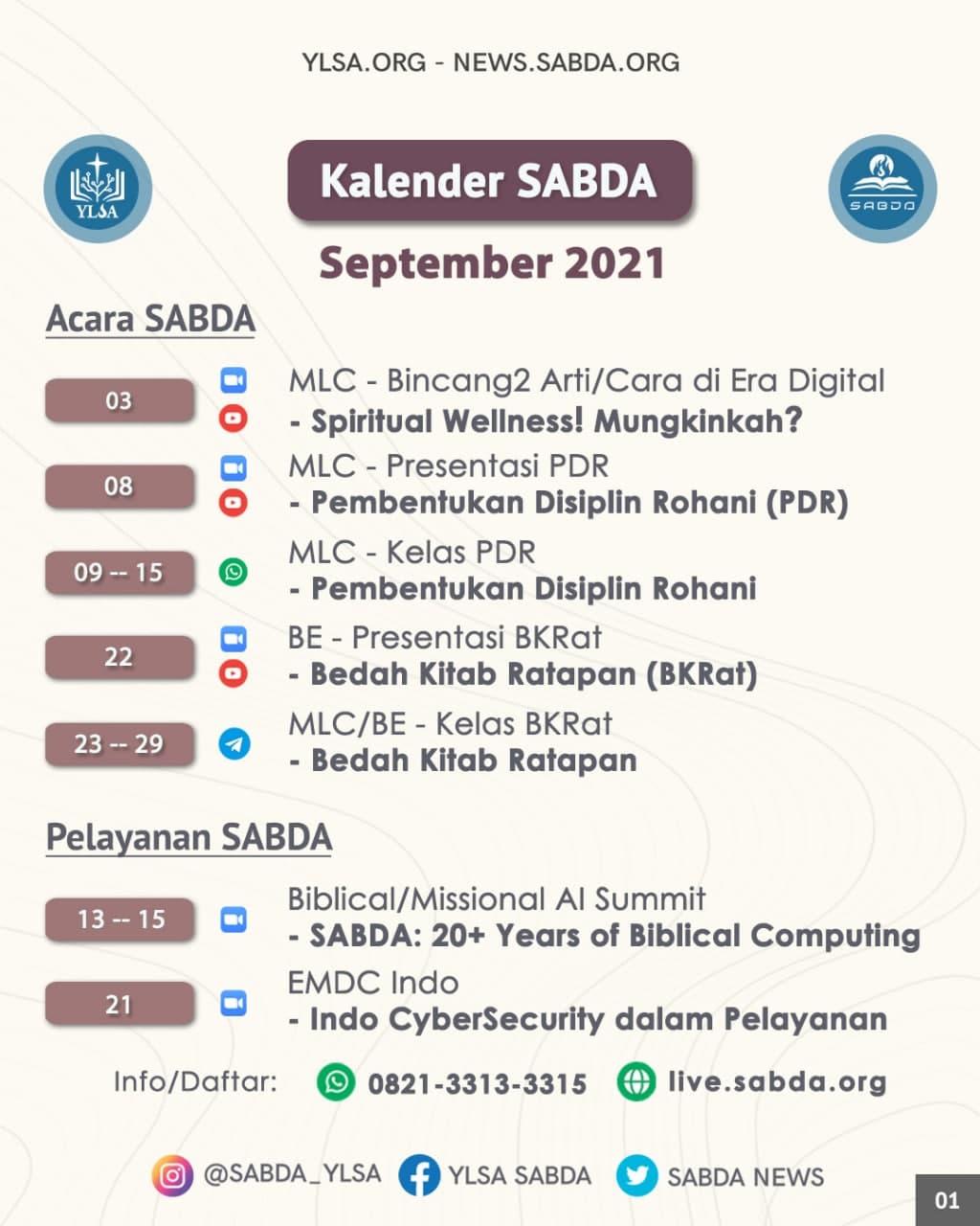 Kalender acara/pelayanan YLSA selama September 2021.