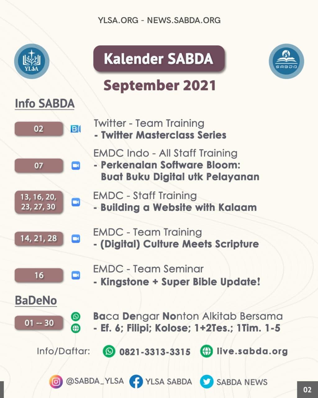 Kalender Info SABDA dan BaDeNo selama September 2021.