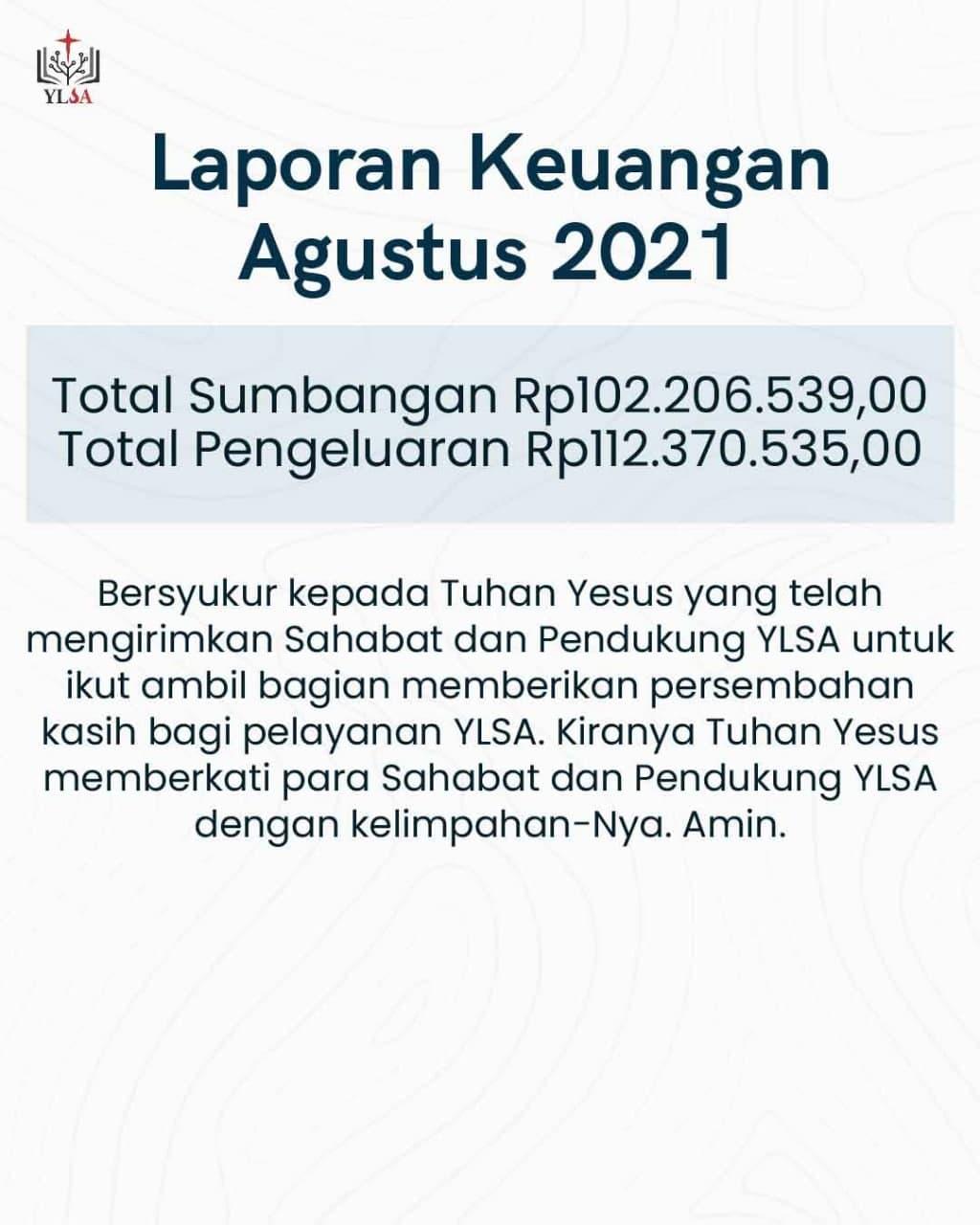 Laporan keuangan YLSA Agustus 2021.