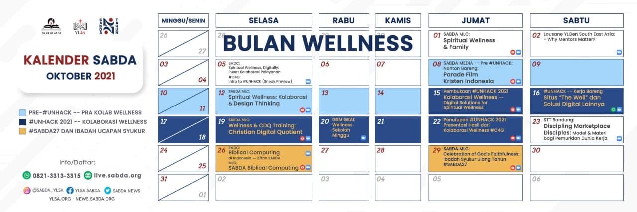 Kalender event YLSA selama Oktober 2021.