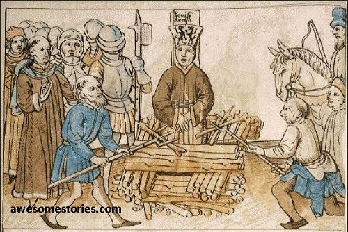 Gambar: John Hus dibakar di kayu sula