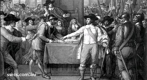 Gambar: Oliver Cromwell membubarkan Parlemen