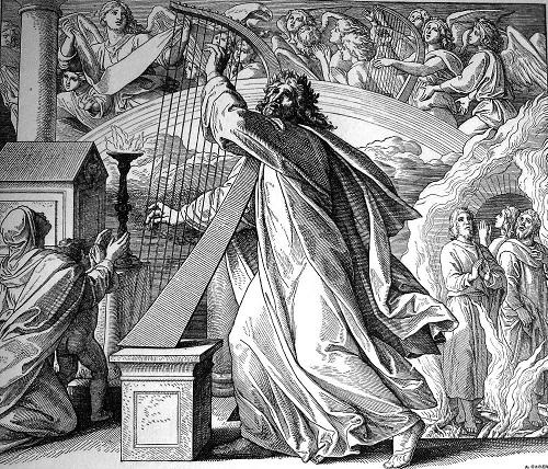 Gambar: Daud memainkan harpa