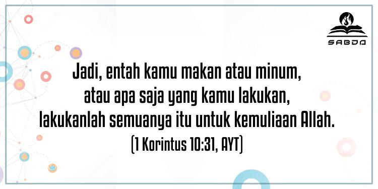 1 Korintus 10:31, AYT