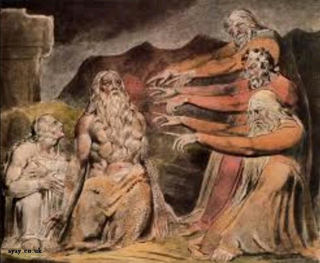 Ilustrasi Ayub ditegur oleh teman-temannya dari William Blake