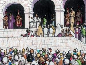 Gambar: Yesus dan Barabas di pengadilan.