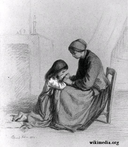 Ibu mengajari anak berdoa