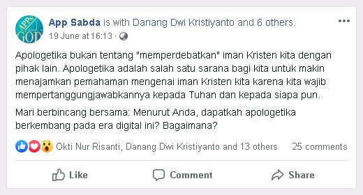 Diskusi tentang Apologetika pada Era Digital di Facebook Apps4God