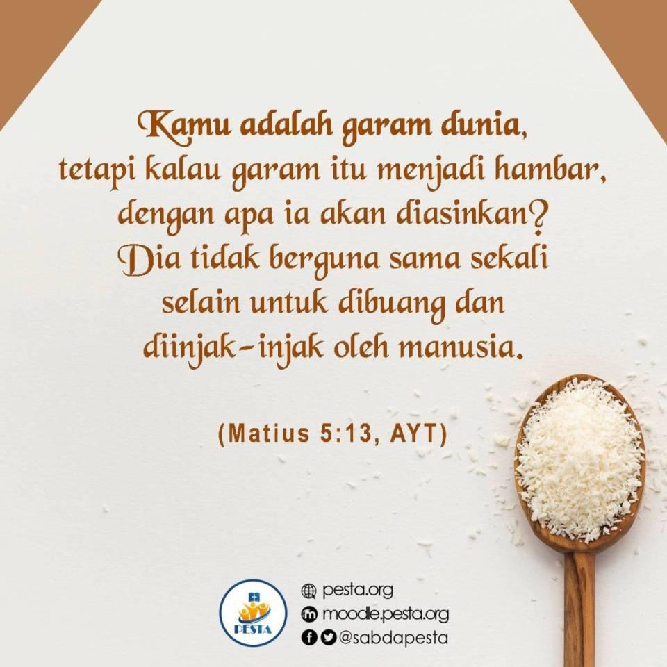 <a target='_blank' href='http://alkitab.mobi/?Matius+5:13, '>Matius 5:13</a>, AYT